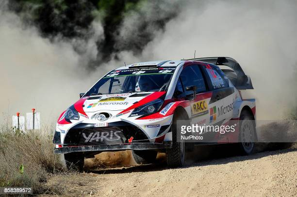 The Finnish driver Esapekka Lappi and his codriver Janne Ferm of Toyota Gazoo Racing jumping with his Toyota Yaris WRC during the first day of the...