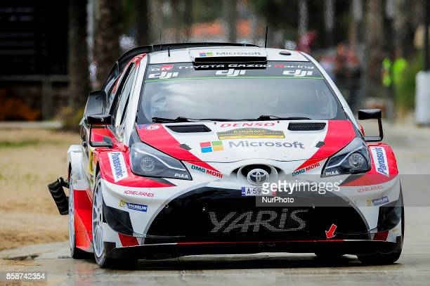 The Finnish driver Esapekka Lappi and his codriver Janne Ferm of Toyota Gazoo Racing Wrt driving his Toyota Yaris wrc car at Salou special stage...