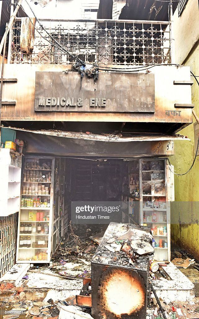 The fire broke out shortly after the morning 6 am at the 40-year-old Wafa medical store located on the ground floor of the Mestri Chawl at Juhu, Andheri on June 30, 2016 in Mumbai, India. In a major incident that has shaken up the civic administration, nine people including five children and a pregnant woman, were killed when a fire caused by suspected short circuit broke out in a medical store.