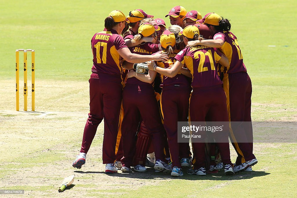 The Fire celebrate after winning the WT20 Final match between Queensland Fire and the ACT Meteors at WACA on February 7 2014 in Perth Australia