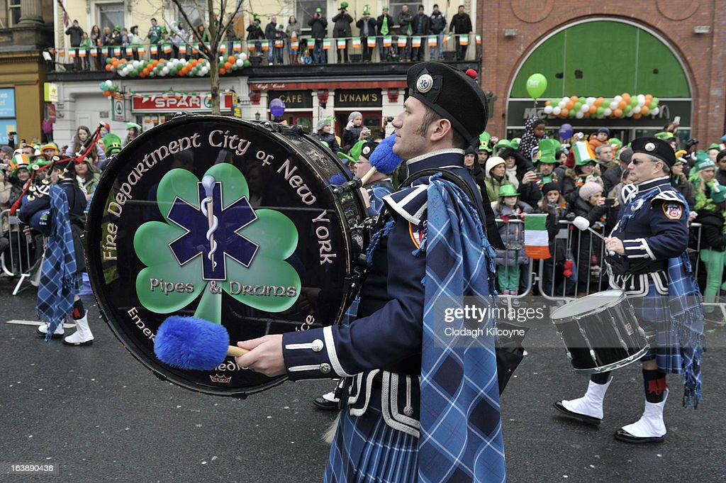 The Fire Department of New York Pipe and Drum band take part in the St Patrick's Day parade on March 17, 2013 in Dublin, Ireland. More than 100 parades are being held across Ireland to mark St Patrick's Day, the feast day of the patron saint of Ireland, with up to 650,000 spectators expected to attend the parade in Dublin. Ireland has high hopes that the festivities will bring a much-needed boost to the economy.er caption here on March 17, 2013 in Dublin, Ireland.