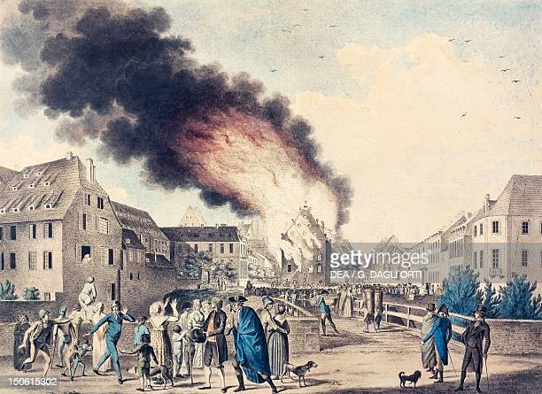 The fire of the Comedie Francaise in Strasbourg in 1797 French Revolution France 18th century
