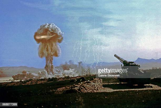 The fireball is ascending during a nuclear artillery test Grable Event   part of Operation UpshotKnothole a 15kiloton test fired from a 280mm M65...
