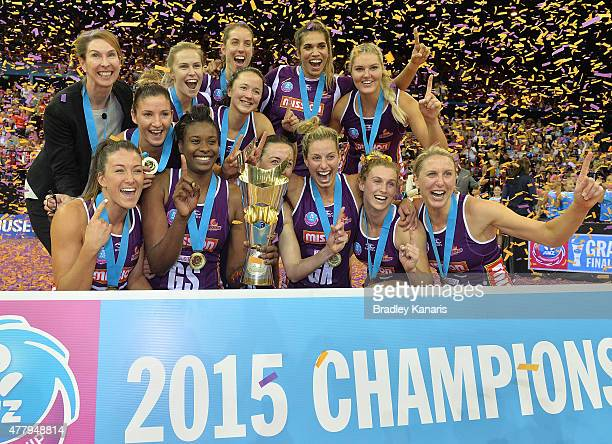 The Firebirds celebrate their victory after the 2015 ANZ Championship Grand Final match between the Firebirds and the Swifts at Brisbane...