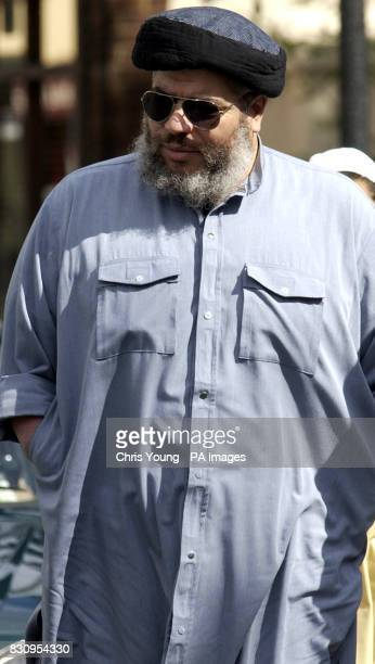 The firebrand cleric Sheik Abu Hamza Mullah at the Finsbury Park Mosque arrives ahead of a demonstration which was held outside by the British far...