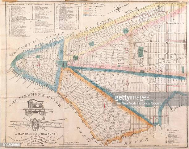 The Firemen's Guide a map of the city of NewYork showing the fire districts fire limits hydrants public cisterns stations of engines hooks ladders...