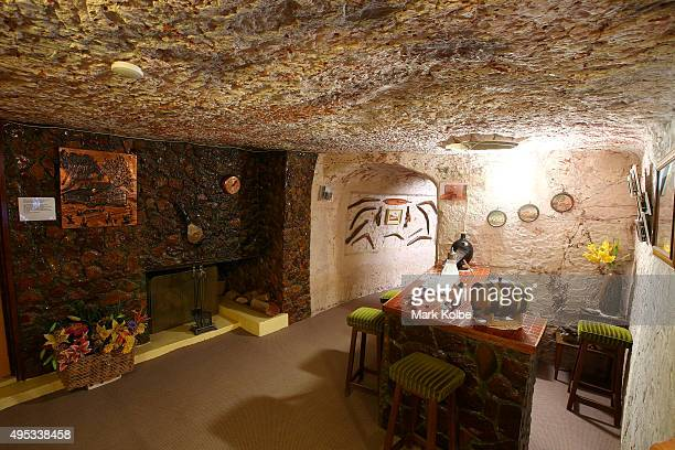 The fireplace and bar are seen inside Faye's Underground Home on October 22 2015 in Coober Pedy AustraliaThis three bedroom dugout as locals call...