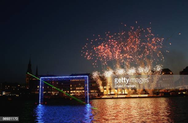 The fireworks announce the Official opening of The Blue Goal on the BinnenAlster which is part of the build up to the FIFA Football World Cup on...