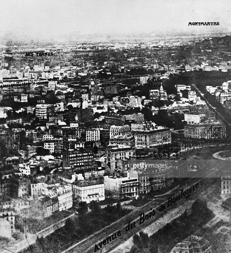 The first aerial photograph of Paris taken by Nadar from a balloon at an altitude of 520 metres.