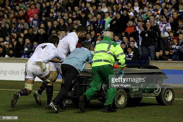 The First Aid buggy is removed from the pitch during the RBS Six Nations Championship match between Scotland and England at Murrayfield Stadium on...