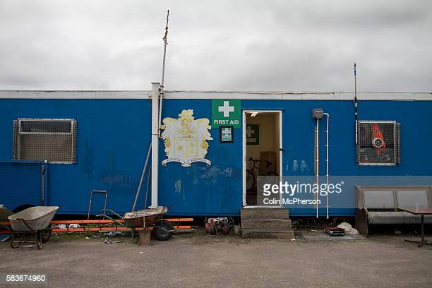 The first aid huts at Barrow AFC's Furness Building Society Stadium during the Barrow v Newport County Conference National Fixture Newport County...