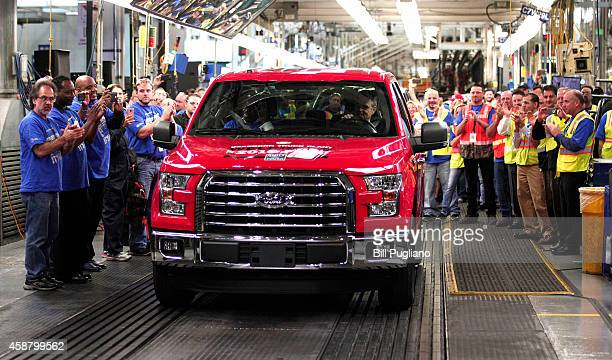 The first allnew 2015 Ford F150 truck comes off the assembly line at the Ford Dearborn Truck Plant November 11 2014 in Dearborn Michigan The new 2015...