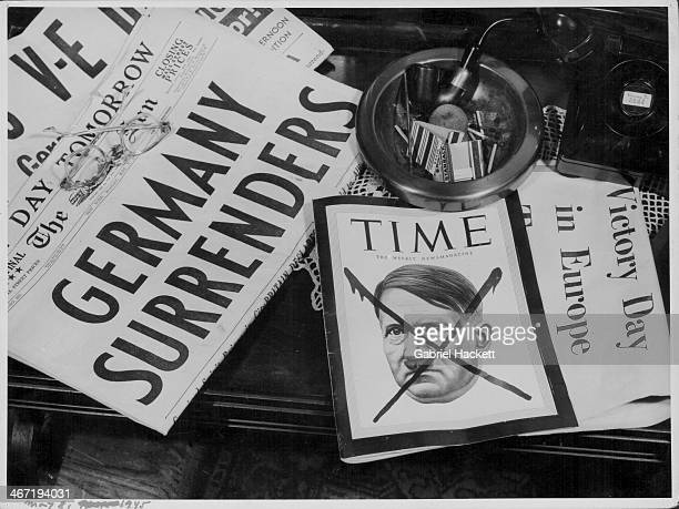 The first American newspaper and magazine published following the end of World War Two including Time magazine renouncing Adolf Hitler May 8th 1945