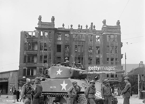 The first American tanks arrive at Innsbrucker Platz in Berlin at the end of World War II 11th July 1945