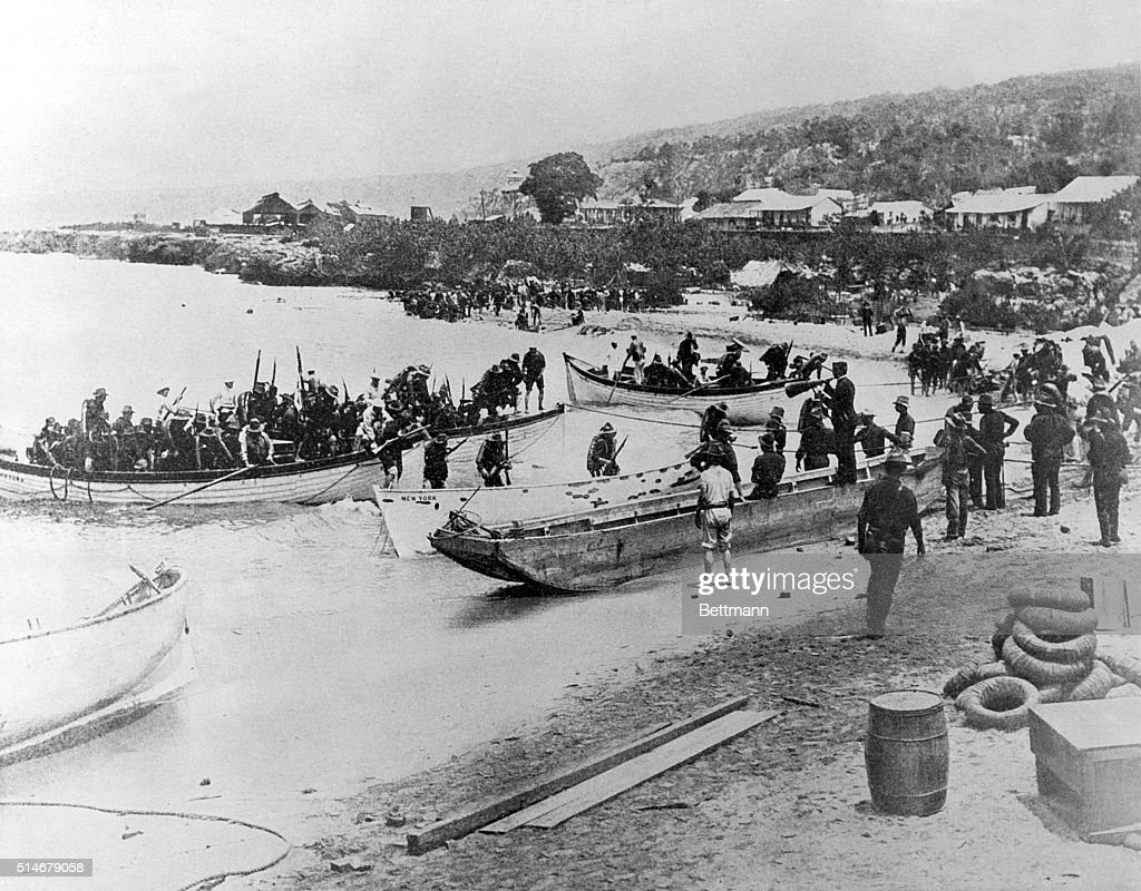 The first American troops land on a beach in Cuba at the start of the SpanishAmerican War