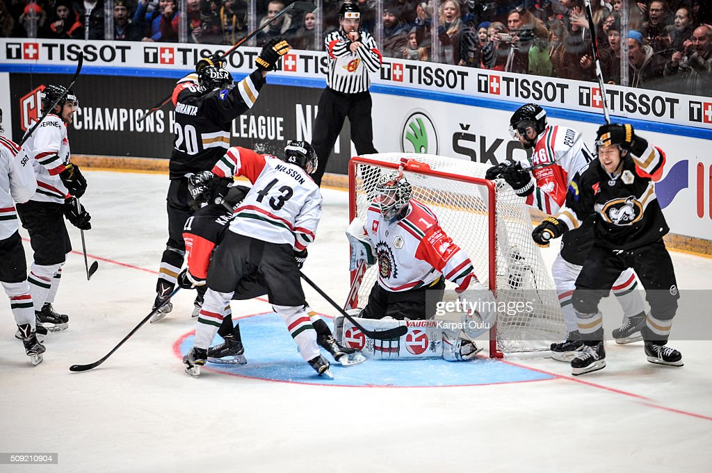 The first and the only goal for home team scored by Juho Keranen #19 of Karpat Oulu during the Champions Hockey League final between Karpat Oulu and Frolunda Gothenburg at Oulun Energia-Areena on February 9, 2016 in Oulu, Finland.