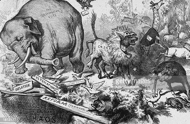 The first appearance of Republican Elephant with a fox in the bottom right corner representing the Democratic party in a political cartoon by Thomas...