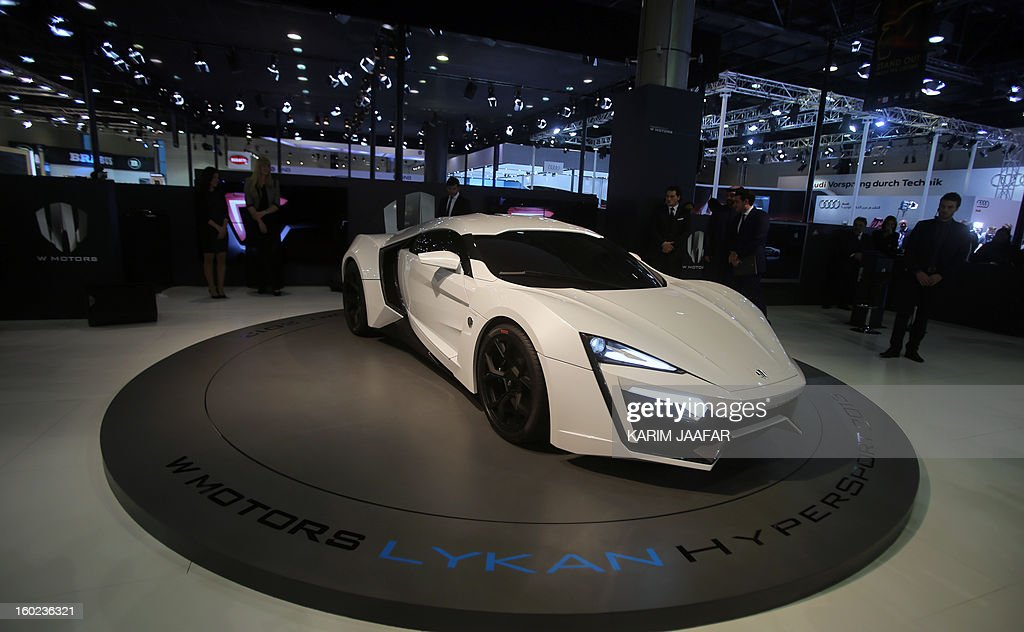 The first Arabian supercar, LykanHypersport is pictured during the third International Qatar Auto Show on January 28, 2013 in Doha. Created by Beirut-based W Motors the LykanHypersport is labeled as the most exclusive, luxurious and technologically advanced Hypercar in the world that boasts never seen before cutting-edge technologies inside and out. AFP PHOTO / AL-WATAN DOHA / KARIM JAAFAR == QATAR OUT ==