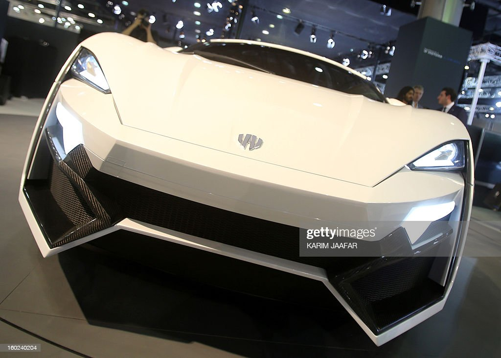The first Arabian supercar, LykanHypersport is pictured during the third International Qatar Auto Show on January 28, 2013 in Doha. Created by Beirut-based W Motors the LykanHypersport is labeled as the most exclusive, luxurious and technologically advanced Hypercar in the world that boasts never seen before cutting-edge technologies inside and out.