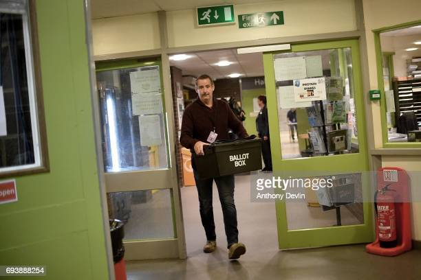 The first Ballot Box arrives at the Peter Paine Performance Centre where the vote count for the constituency of Boston and Skegness is underway...