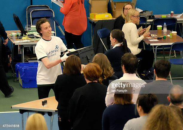 The first ballot box is carried during the Sunderland count which for the past five elections has been the first to declare on May 7 2015 in...