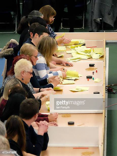 The first ballot papers are counted during the Sunderland count which for the past five elections has been the first to declare on May 7 2015 in...