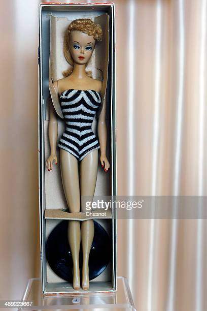 The first Barbie doll created in 1959 in her original box is displayed during the exhibition 'Barbie retro chic' at the 'Musee de la poupee' on...