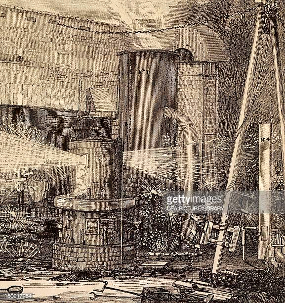 The first Bessemer converter from The Illustrated London News of 27 August 1856 England 19th century