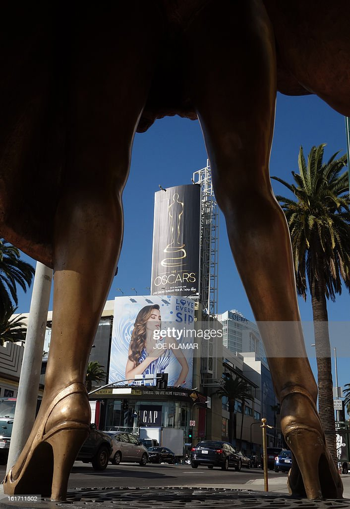 The first billboard announcing this year's upcoming Oscars, the 85th Academy Awards, is displayed outside the Dolby Theatre in Hollywood, California, on February 14, 2013. The ceremony is scheduled for February 24, 2013. AFP PHOTO / JOE KLAMAR
