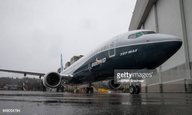 The first Boeing 737 MAX 9 airliner is pictured at the company's factory on March 7 2017 in Renton Washington The 737 MAX 9 which can carry up to 220...