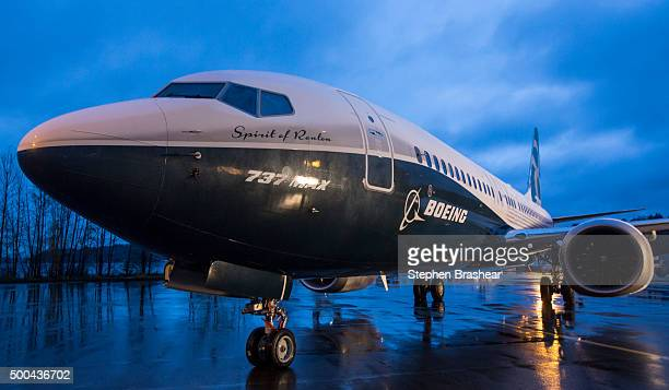 The first Boeing 737 MAX airliner is pictured at the company's manufacturing plant on December 8 in Renton Washington The plane is the newest most...