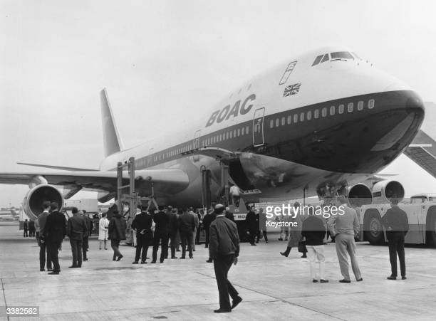 The arrival of the first Boeing 747 at London's Heathrow Airport