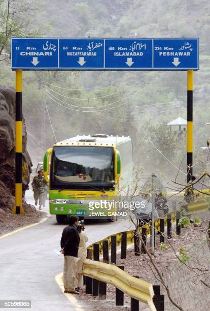 The first bus from the Pakistan controlled Kashmir arrives with 30 passgers on their way to Indian controlled Kashmir at the Chakothi post on the...