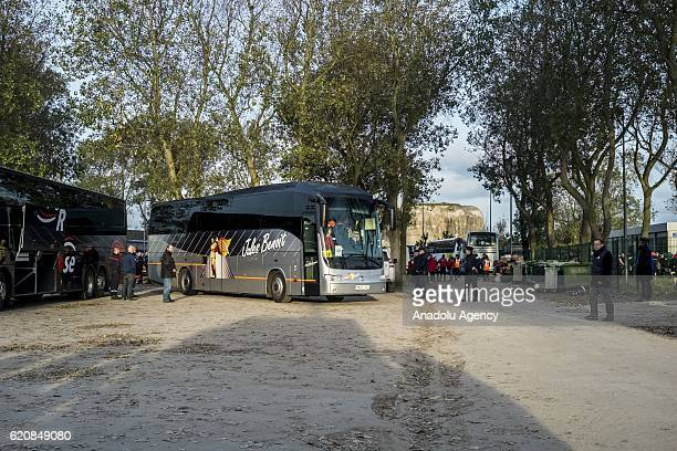 The first bus leaves the center 'Jules Ferry' at 9am in Calais on November 3 2016 Over 350 women and Their children still living at the 'Jules Ferry'...