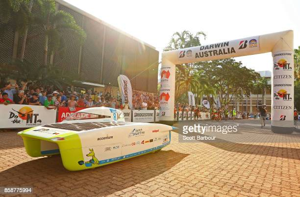 The first car Punch Powertrain Solar Team vehicle 'Punch Two' from Belgium leaves the start line as they begin racing on Day 1 of the 2017...