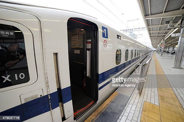 The first carriage of a Shinkansen is seen at the Odawara Station after a 71yearold man set himself alight on a Japanese bullet train killing himself...