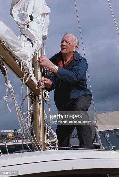 The first chairman of British Gas Sir Arthur Hetherington on a boat 1972
