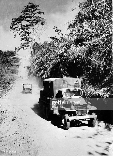 The first China convoy in almost three years rolls along the Stillwell Road between Myitkyina and Bhamo in Burma then will reached Kunning on...