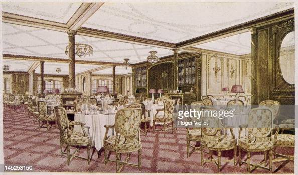 The first class dining room of the White Star liner 'Titanic' circa 1912