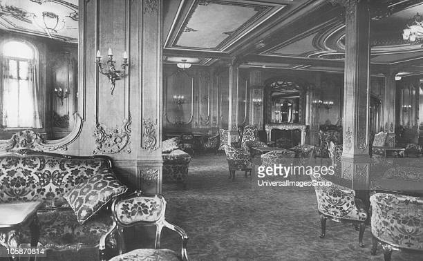 The First Class Lounge on board RMS Titanic 4th January 1912 The White Star Liner built by Harland Wolff in Belfast left Southampton and Cherbourg on...