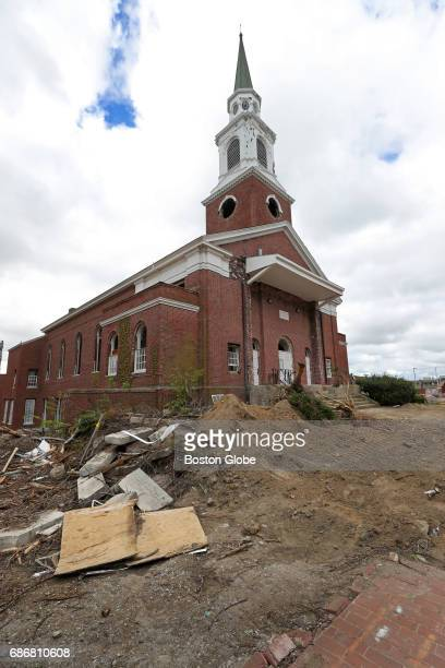 The First Congregational Church in Malden is pictured on May 10 2017 Crews have begun demolition on the old police station and City Hall with the old...
