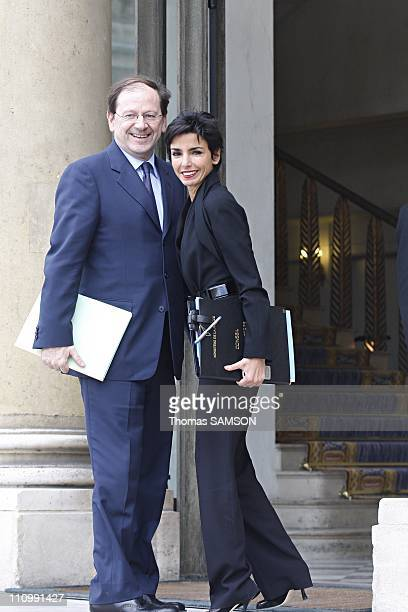 The first Council of ministers after reshuffle in Paris France on March 19th 2007 Herve Novelli State Secretary in charge of Trade Artisan Trades...