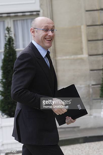 The first Council of ministers after reshuffle in Paris France on March 19th 2007 Bernard Laporte State Secretary in charge of Sports