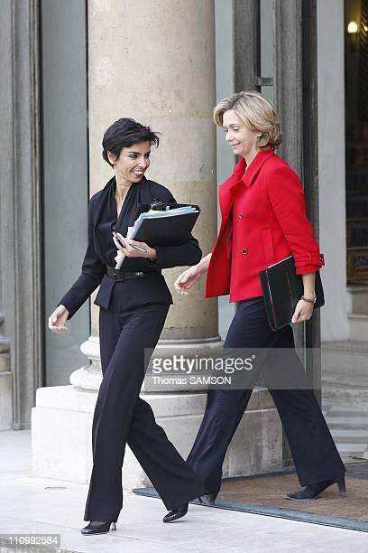 The first Council of ministers after reshuffle in Paris France on March 19th 2007 Rachida Dati Justice Minister and Valerie Pecresse Minister of...