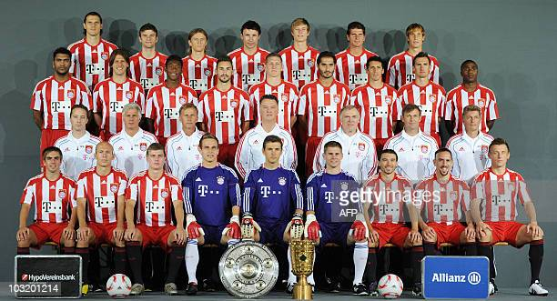 The first division Bundesliga football team of FC Bayern Munich poses for a group picture in Munich on August 2 2010 Front row defender Philipp Lahm...