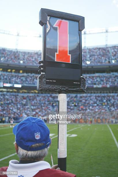 The first down marker is shown during the New England Patriots game against the Denver Broncos at INVESCO Field at Mile High on October 16 2005 in...