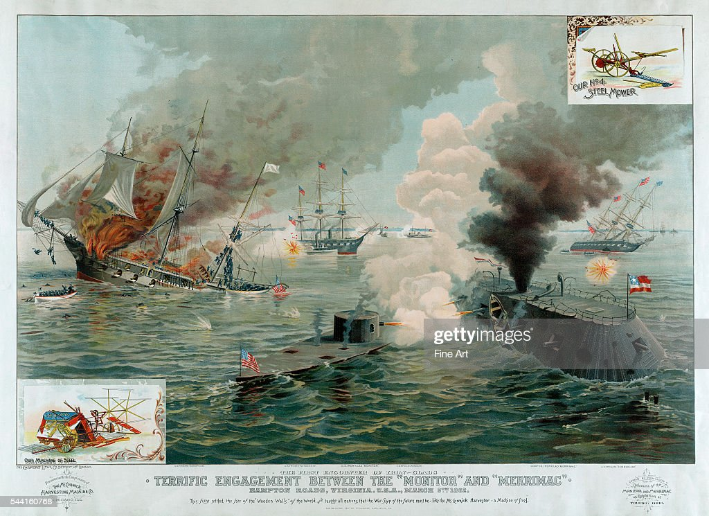 The first encounter of IronClads March 9th 1862 Creator Calvert Lithographing Co circa 1891 37 3/4 x 27 1/2 in