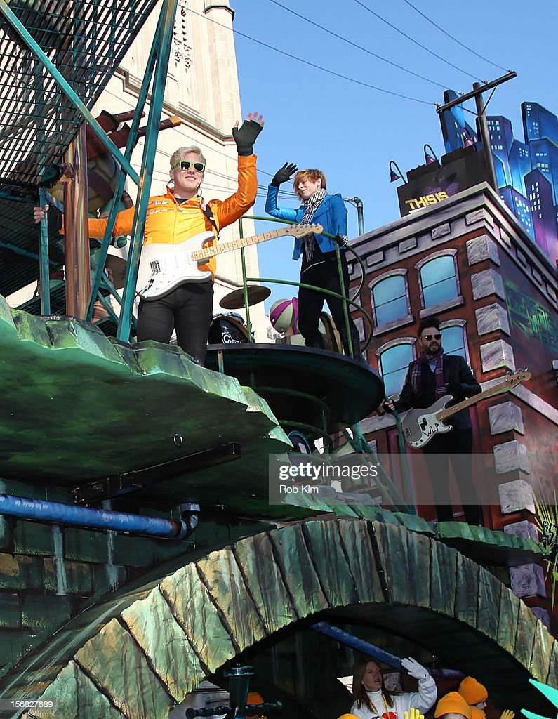 The first ever Teenage Mutant Ninja Turtles Float with members of the band Neon Trees attend the 86th Annual Macy's Thanksgiving Day Parade on November 22, 2012 in New York City.
