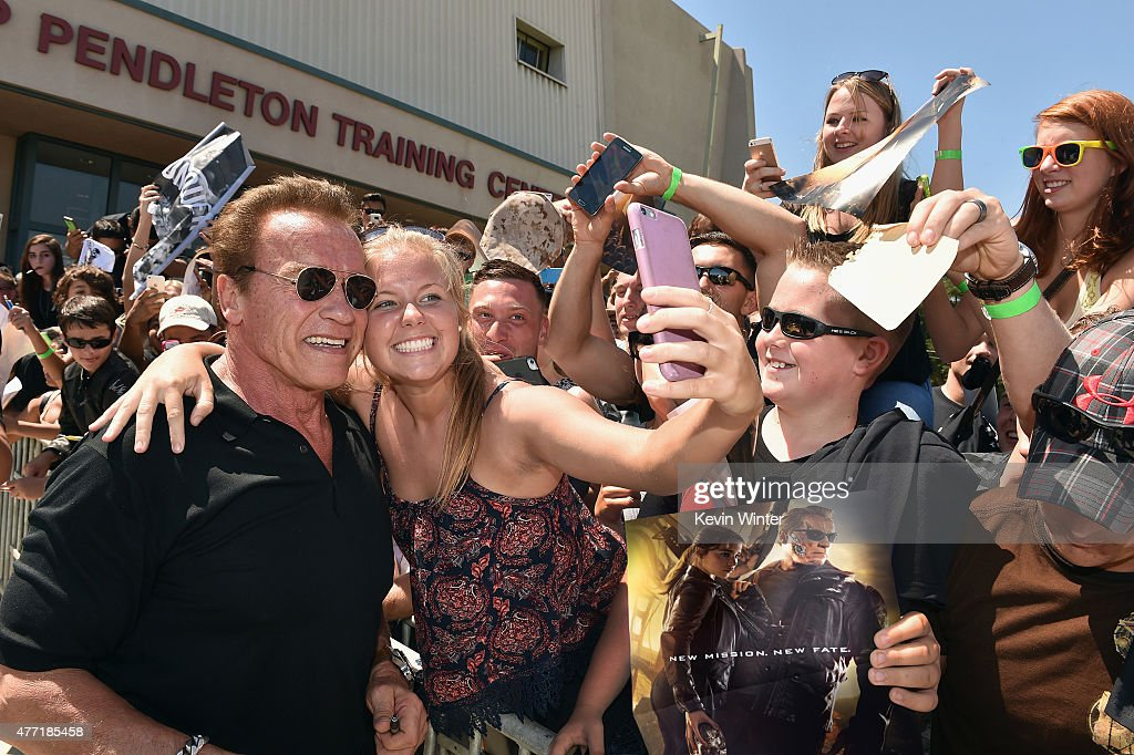 The first fans in the U.S. to see a screening of TERMINATOR GENISYS at Camp Pendleton on June 14, 2015 in Oceanside, California.