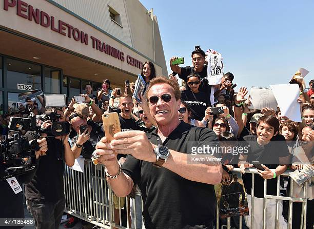 The first fans in the US to see a screening of TERMINATOR GENISYS at Camp Pendleton on June 14 2015 in Oceanside California